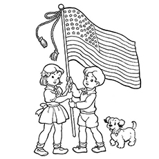Kids Holding the Flag of USA on 4th July Coloring Page