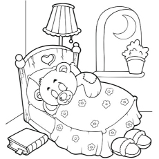 Picture of Sleeping Teddy to Color