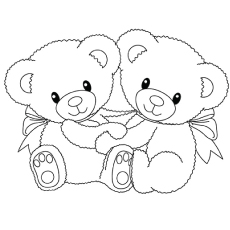 Coloring Pages of Twin Teddy