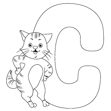 Coloring Pages of Cat Standing Beside Letter C