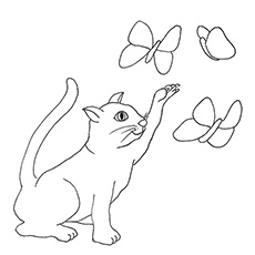 Coloring Pages of Cat Trying to Catch Butterfly