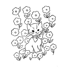 Cat In A Meadow Printable Coloring Sheets