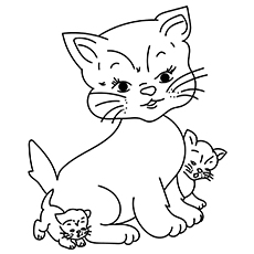 Mommy Cat and Kitten Pic for Kids to Color16