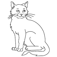 Cat Sitting Strong Printable to Color