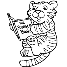 Baby Tiger reading a book Coloring Pages