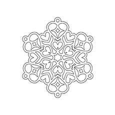 Heart Shaped Snowflake Coloring Page