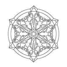 Snowflake Mandala Design Picture to Color