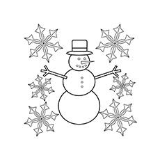 Snowman And Snowflake Coloring Sheet