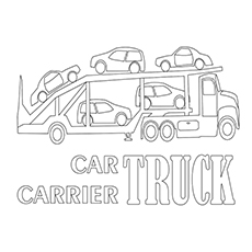 Coloring Pages of Car Carrier Truck