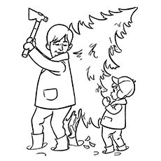Father-Cutting-A-Christmas-Tree