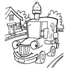 Cartoon Transportation Truck Coloring Pages for kids