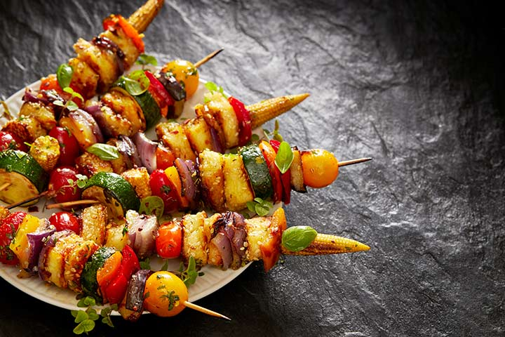 Mixed vegetables and cheese skewers