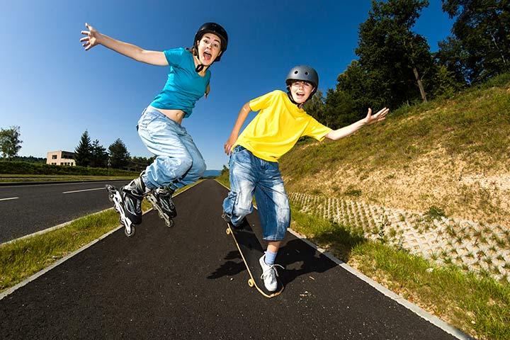 Skateboarding and rollerblading