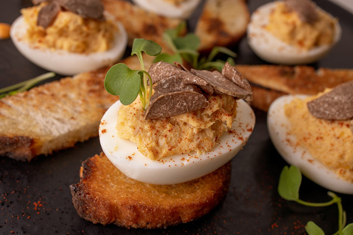 Deviled egg with toast