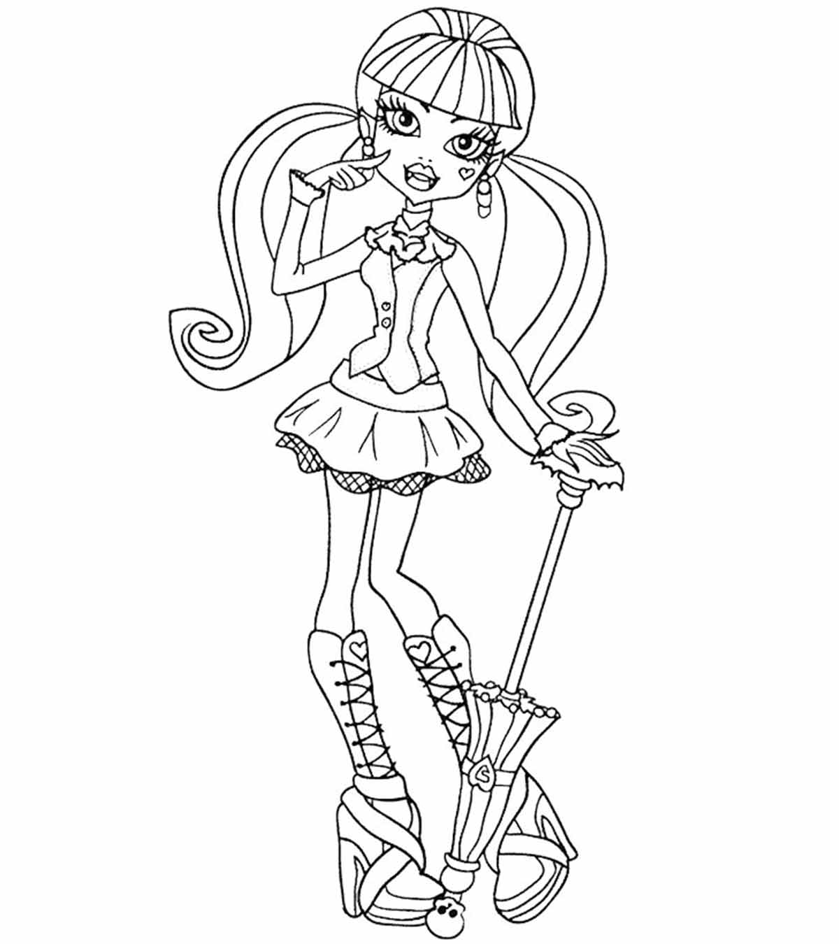 Monster High Ghoulia Doll coloring page | Free Printable Coloring ... | 1350x1200