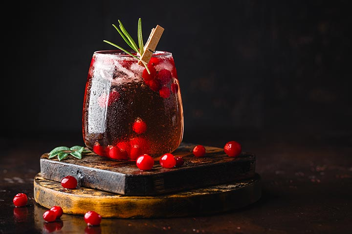 ACV and cranberry mocktail