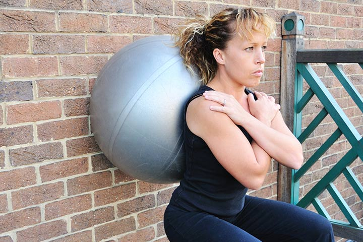 Squats Against Wall With Exercise Ball During Pregnancy
