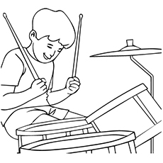 Drum Coloring Page - Boy Playing Acoustic Drum