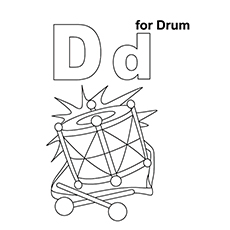 Drum Coloring Page - D For Drum