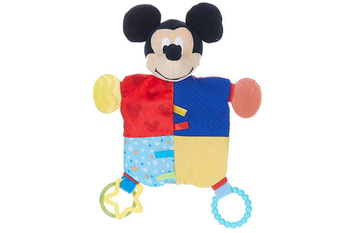 Disney Baby Mickey Mouse Plush Teether Blanket 6111