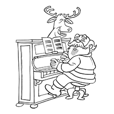 Piano Coloring Pages - Santa Playing Piano With His Reindeer
