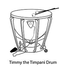 Drum Coloring Page - Timmy The Timpani Drum