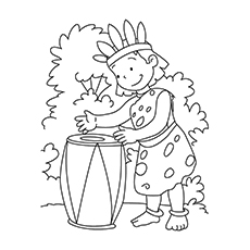 Drum Coloring Page - Tribal Girl Playing A Drum