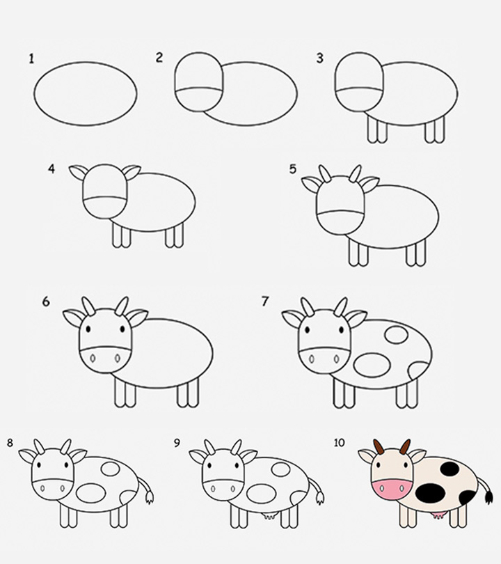 2 Easy Tutorials On How To Draw A Cow For Kids