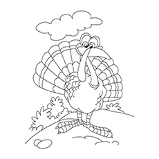 Coloring Page of Animated Turkey