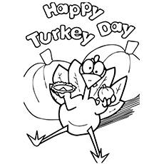 Happy Turkey Day Coloring Page to Print
