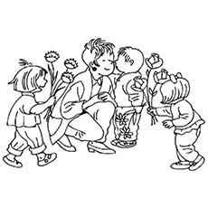 Preschoolers-Presenting-Flowers-To-Children
