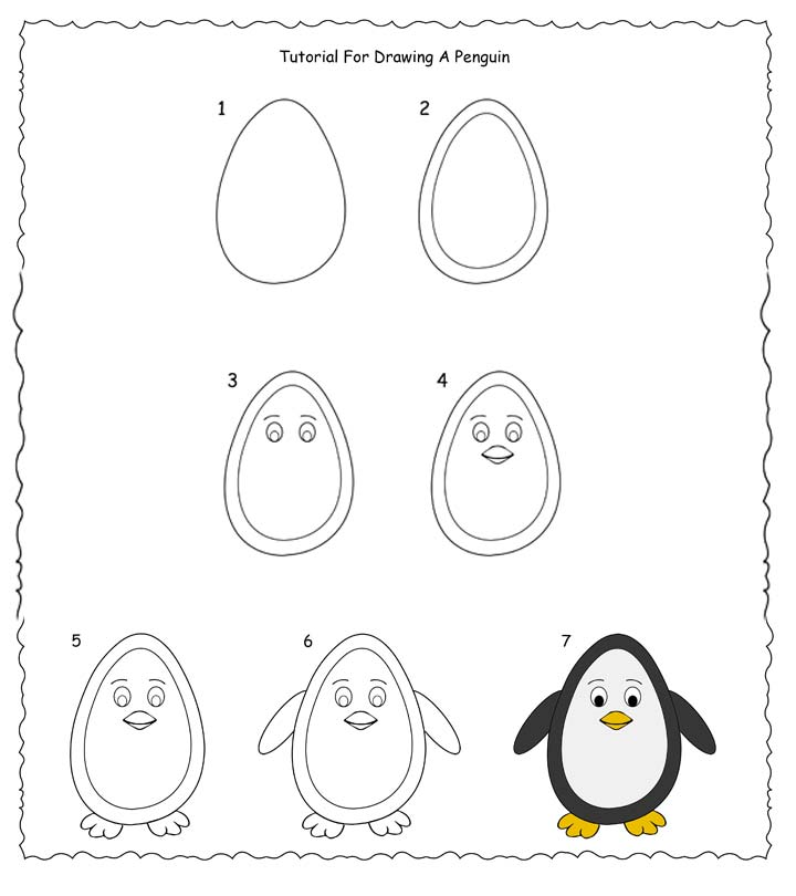 How To Draw A Penguin Step By Step - Easy Tutorial For Kids