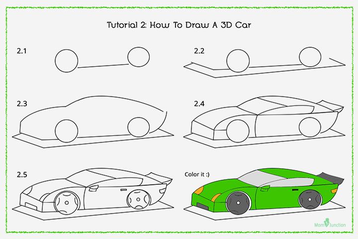 Cara Menggambar Mobil Balap langkah demi langkah dengan cepat