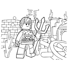 Free Lego Movie Aquaman with Weapon Coloring Sheet
