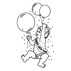 Baby New Year Enjoys with Balloon to Color Free