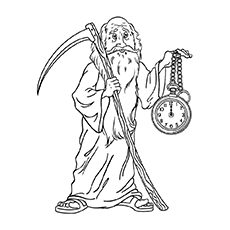 Father with Clock on New Year Printable to Color