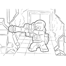 Coloring Sheet of Green Lantern with Missile Gun from the Movie Lego