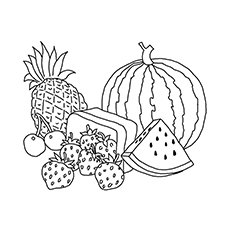 New Year's Fruits Coloring Sheets