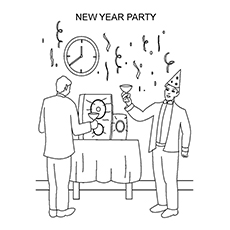 New Year's Party Time to Color