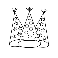 New Year Party Hat Coloring Page