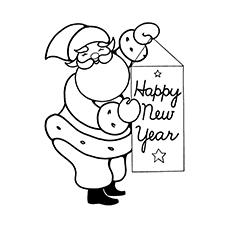 Santa Wishing Happy New Year Image to Color
