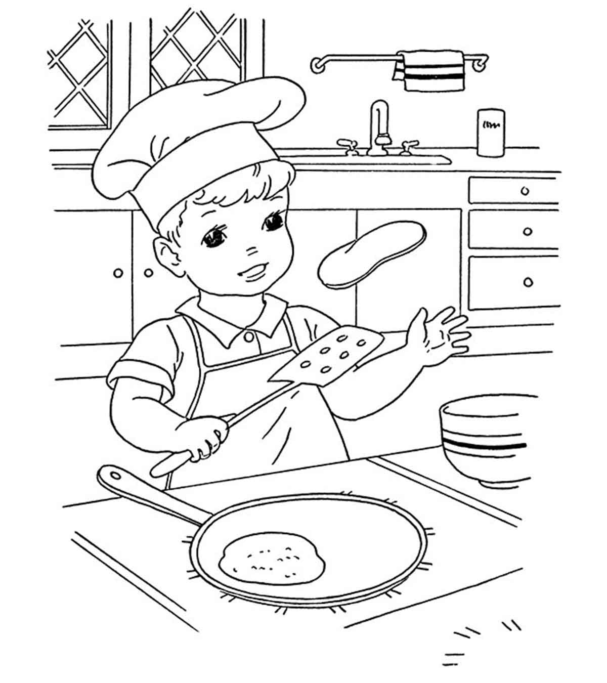 Chef With Some Food - Free Coloring Pages For Kids - Printable ... | 1350x1200