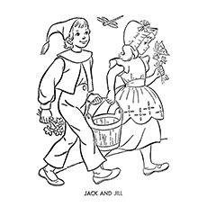 Jack And Jill Coloring Page - Jack And Jill Going To Fetch Water