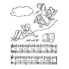 Jack And Jill Coloring Page - Music Notes