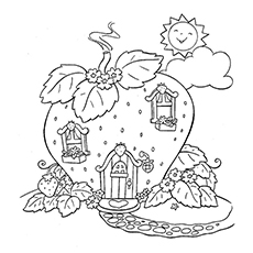 A Beautiful Strawberry House Coloring Pages