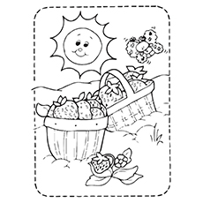 Baskets Of Strawberries Coloring Pages