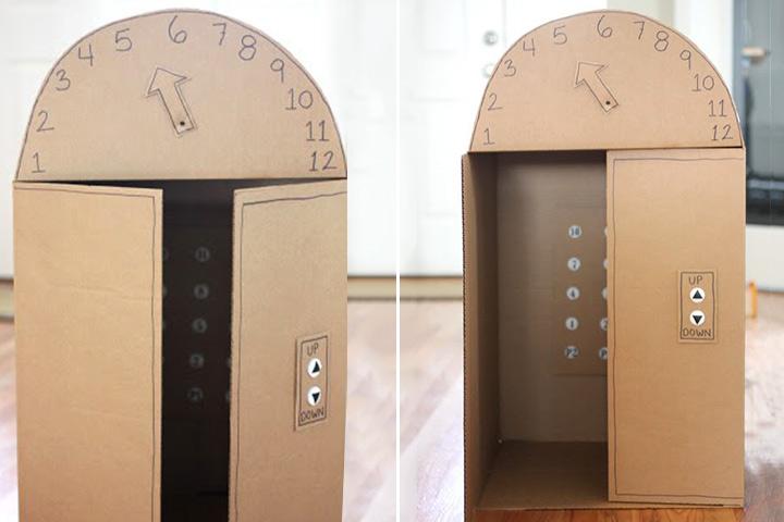 Cardboard Box Crafts For Kids - Cardboard Box Elevator