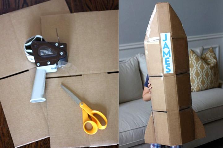 Cardboard Box Crafts For Kids - Cardboard Box Rocket