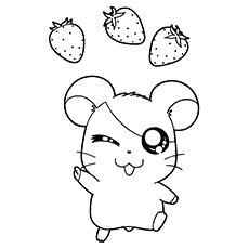 Hamtaro With Strawberries Coloring Pages