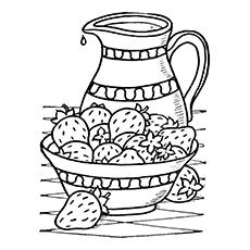 Strawberry Juice in a Jug Coloring Pages